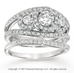 14k White Gold 1.10 Carat Three Stone Diamond Bridal Set