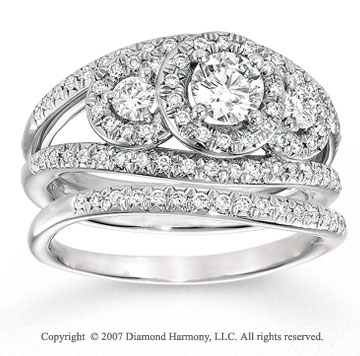 14k White Gold Classic 2/5 Carat Three Stone Diamond Bridal Set