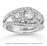 14k White Gold 1.00 Carat Three Stone Diamond Engagement Ring