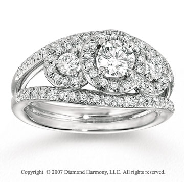 14k White Gold Classic Three Stone Diamond Engagement Ring