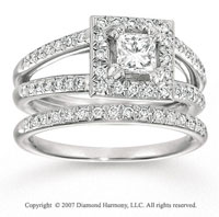 14k White Gold 1.00 Carat Princess Diamond Bridal Set