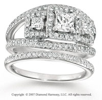 14k White Gold Princess Three Stone Diamond Bridal Set