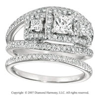 14k White Gold Elegant Three Stone Diamond Bridal Set