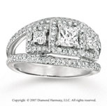 14k White Gold Princess Three Stone Diamond Engagement Ring