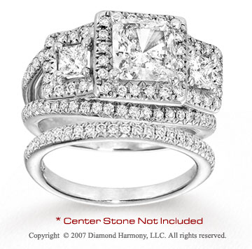 14k White Gold Side Stone 0.95 Carat Diamond Bridal Set