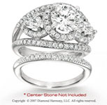 14k White Gold Side Stone 2 3/4 Carat Diamond Bridal Set