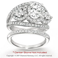 14k White Gold Side Stone 2 1/5 Carat Diamond Bridal Set