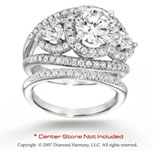 14k White Gold Side Stone Elegant Diamond Bridal Set