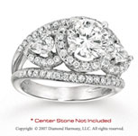 14k White Gold Side Stone 2 1/2 Carat Diamond Engagement Ring