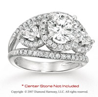 14k White Gold Side Stone 1.95 Carat Diamond Engagement Ring