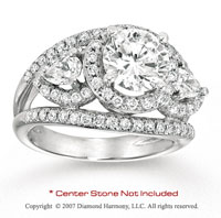 14k White Gold Side Stone 0.90 Carat Diamond Engagement Ring
