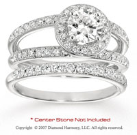14k White Gold Side Stone 1.10 Carat Diamond Bridal Set
