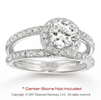 14k White Gold Side Stone 4/5 Carat Diamond Engagement Ring