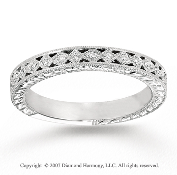 14k White Gold Elegant 1/8 Carat Diamond Anniversary Band