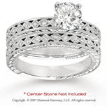 14k White Gold Side Stone 1/4 Carat Diamond Bridal Set