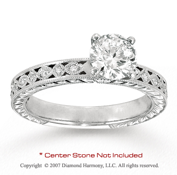 14k White Gold Side Stone 0.10 Carat Diamond Engagement Ring