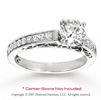 14k White Gold Side Stone 2/3 Carat Diamond Engagement Ring