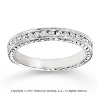 14k White Gold Milgrain 1/2 Carat Diamond Anniversary Band
