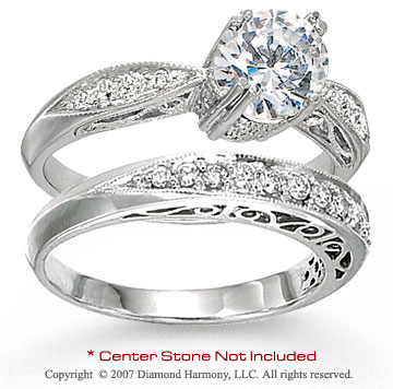 14k White Gold Side Stone 1/3 Carat Diamond Bridal Set