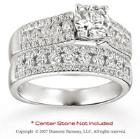 14k White Gold Side Stone 1.05 Carat Diamond Bridal Set