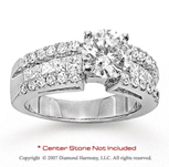 14k White Gold Side Stone 1 1/6 Carat Diamond Engagement Ring