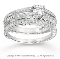 14k White Gold Classy 2/3 Carat Diamond Bridal Set