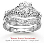 14k White Gold Side Stone Elegant 1/2 Carat Diamond Bridal Set