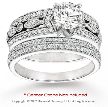 14k White Gold Stylish 1 1/4 Carat Diamond Bridal Set