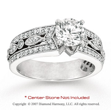 14k White Gold Stylish 0.90 Carat Diamond Engagement Ring