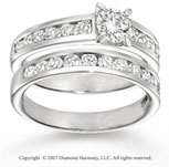 14k White Gold Channel Prong 1.60 Carat Diamond Bridal Set