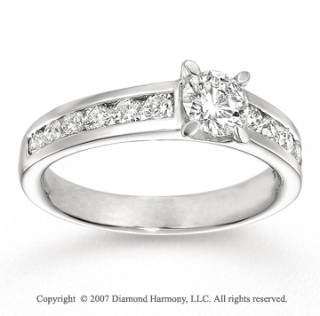 14k White Gold Prong 1.00 Carat Diamond Engagement Ring