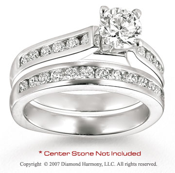 14k White Gold Side Stone 3/4 Carat Diamond Bridal Set
