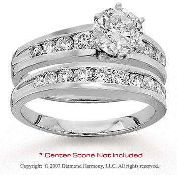 14k White Gold Side Stone 0.90 Carat Diamond Bridal Set