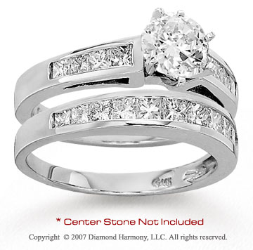 14k White Gold Side Stone 1 1/4 Carat Diamond Bridal Set