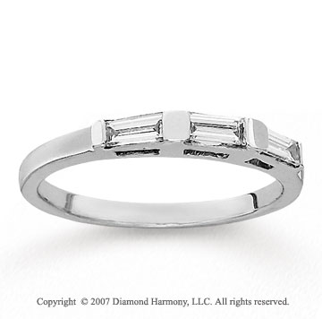 14k White Gold Baguette 1/3 Carat Diamond Anniversary Band