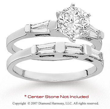 14k White Gold Side Stone Baguette 1/2 Carat Diamond Bridal Set