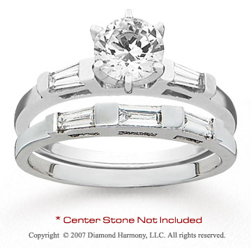 14k White Gold Side Stone Baguette .40 Carat Diamond Bridal Set