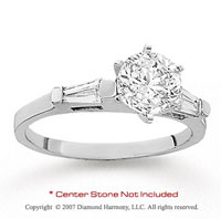 14k White Gold Side Stone 1/6 Carat Diamond Engagement Ring