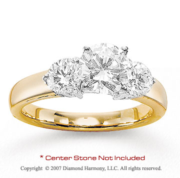 14k Yellow Gold Side Stone 1.00 Carat Diamond Engagement Ring