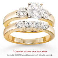 14k Yellow Gold Side Stone 0.95 Carat Diamond Bridal Set