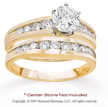 14k Yellow Gold Side Stone 0.90 Carat Diamond Bridal Set