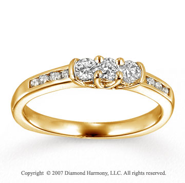 14k Yellow Gold Prong 2/5 Carat Diamond Anniversary Band