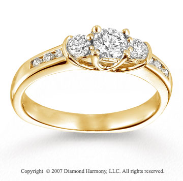14k Yellow Gold 0.70 Carat Three Stone Diamond Engagement Ring