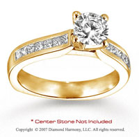 14k Yellow Gold Side Stone 1/2 Carat Diamond Engagement Ring