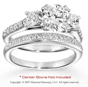 14k White Gold Prong 1 1/2 Carat Diamond Bridal Set