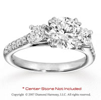 14k White Gold Prong 1.05 Carat Diamond Side Stone Ring