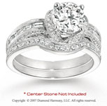 14k White Gold Side Stone 4/5 Carat Diamond Bridal Set