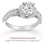 14k White Gold Side Stone 0.70 Carat Diamond Engagement Ring