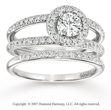 14k White Gold Elegant 4/5 Carat Diamond Bridal Set