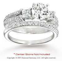 14k White Gold Side Stone 1.00 Carat Diamond Bridal Set